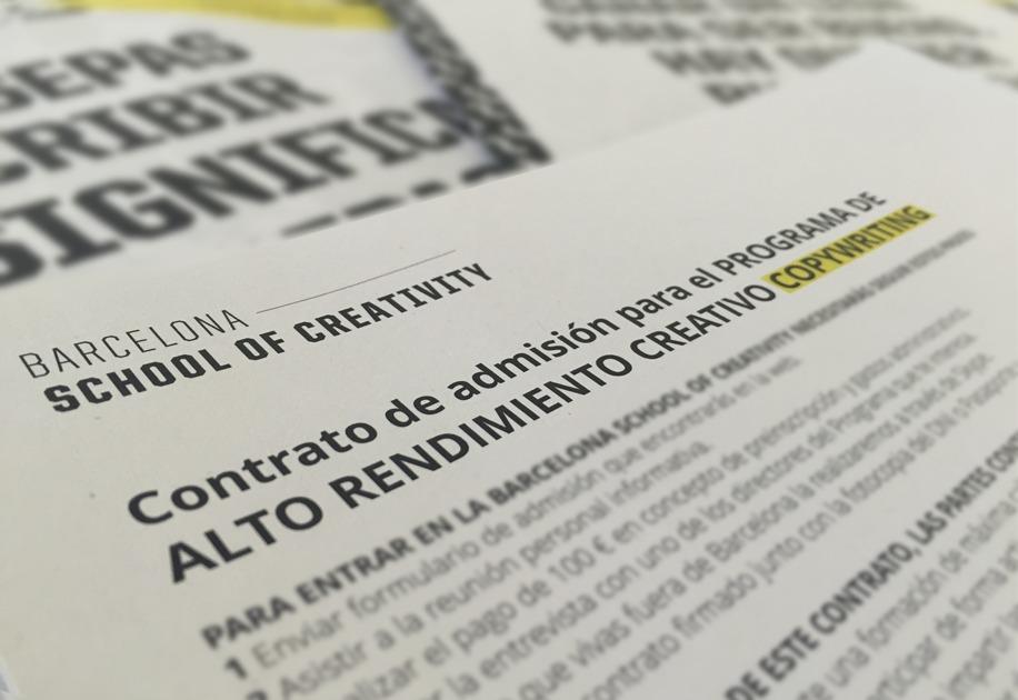 La letra pequeña del contrato entre alumnos y la Barcelona School of Creativity